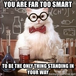 Science Cat - you are far too smart  to be the only thing standing in your way