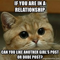Do you think this is a motherfucking game? - If you are in a relationship  Can you like another girl's post or dude post?