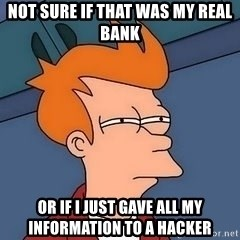 Fry squint - Not Sure IF That was my real bank Or if i just gave all my information to a hacker