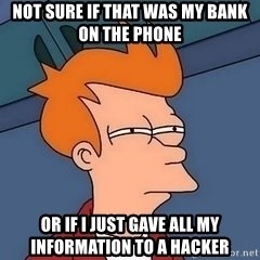 Fry squint - NOt sure if that was my bank on the phone or if i just gave all my information to a hacker
