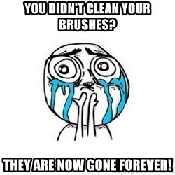 Crying face - You didn't clean your brushes? They are now gone forever!