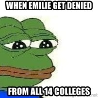 Sad Frog - when emilie get denied  from all 14 colleges