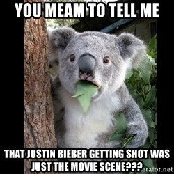 Koala can't believe it - You meam to tell me That justin bieber getting shot was just the movie scene???