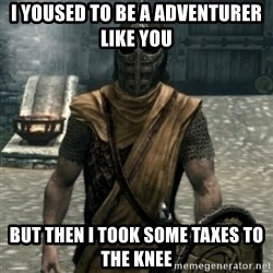 skyrim whiterun guard - I yoused to be a ADVENTURER like you  but THEN I took some taxes to THE KNEE