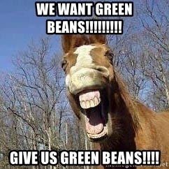 Horse - WE WANT GREEN BEANS!!!!!!!!! GIVE US GREEN BEANS!!!!