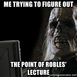 OP will surely deliver skeleton - Me trying to figure out The point of ROBLES' lecture