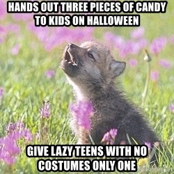Baby Insanity Wolf - Hands out three pieces of Candy to kids on Halloween Give lazy teens with no costumes only one