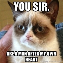 Grumpy Cat  - You sir, are a man after my own heart