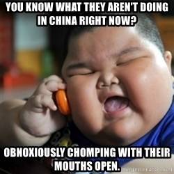 fat chinese kid - you know what they aren't doing in china right now? Obnoxiously chomping with their mouths open.