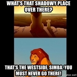 Lion King Shadowy Place - what's that shadowy place over there? That's the westsIde, simba. You must never go there!