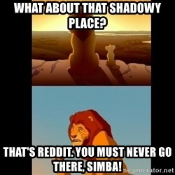 Lion King Shadowy Place - What about that shadowy place?  That's Reddit. You must never go there, Simba!