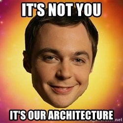 Sheldon Big Bang Theory - It's NOT YOU IT's our architecture