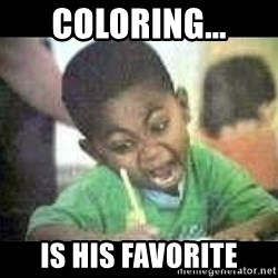 Black kid coloring - COLORING... IS HIS FAVORITE