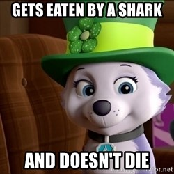 Good Luck Everest  - Gets eaten by a shark And doesn't die