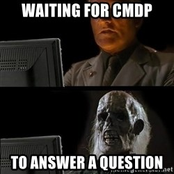 Waiting For - waiting for cmdp to answer a question