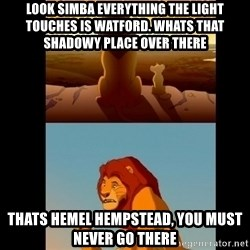 Lion King Shadowy Place - Look simba everything the light touches is watford. WHats that shadowy place over there  Thats hemel hempstead, you must never go there