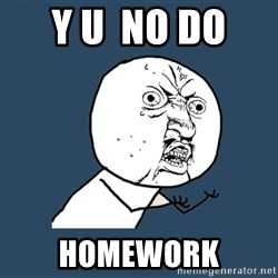 Y U No - Y u  NO DO  HomEWORK