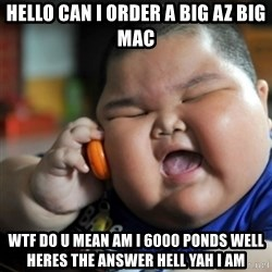 fat chinese kid - hello can i order a big az big mac wtf do u mean am i 6000 ponds well heres the answer hell yah i am