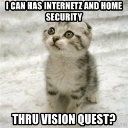 Can haz cat - I can has internetz and home security THRU VISION QUEST?