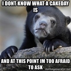 Confession Bear - I dont know what a cakeday is And At this point im too afraid to ask