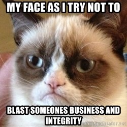 Angry Cat Meme - My face as i try not to Blast someones business and integrity