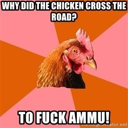 Anti Joke Chicken - Why did the chicken cross the road? To fUck ammu!
