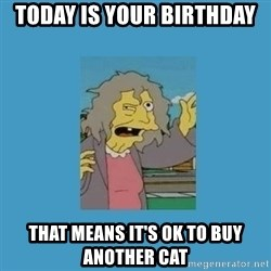 crazy cat lady simpsons - Today is your birthday that means it's ok to buy another cat
