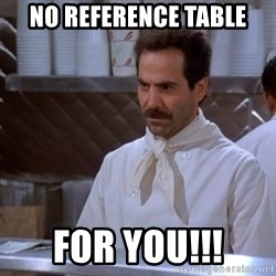 soup nazi - NO Reference Table FOR YOU!!!