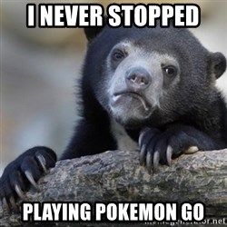 Confession Bear - I never stopped  Playing pokemon go