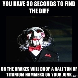saw jigsaw meme - you have 30 seconds to find the diff or the brakes will drop a half ton of titanium hammers on your junk