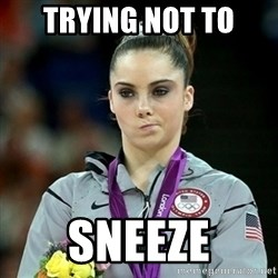 Not Impressed McKayla - trying not to sneeze