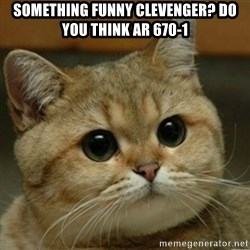 Do you think this is a motherfucking game? - Something funny clevenger? Do you think AR 670-1