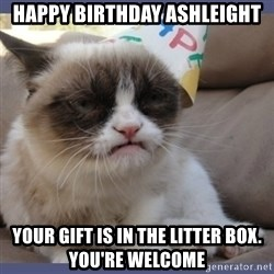 Birthday Grumpy Cat - Happy birthday Ashleight Your gift is in the litter box. YOU'Re welcome