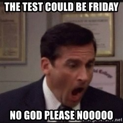michael scott yelling NO - The test could be friday No God Please Nooooo