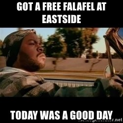 Ice Cube- Today was a Good day - got a free Falafel at Eastside Today was a good day