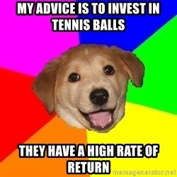 Advice Dog - My advice is to invest in tennis balls they have a high rate of return