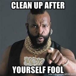 Mr T - Clean up after yourself fool