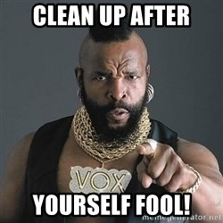 Mr T - Clean Up after Yourself fool!