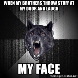 Insanity Wolf - When my brothers throw stuff at my door and laugh My face