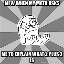 Whyyy??? - Mfw When my math aSks Me to explain what 2 plus 2 is