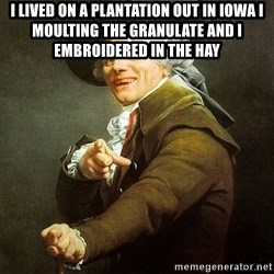 Ducreux - I lived on a plantation out in Iowa I moulting the granulate and I embroidered in the hay