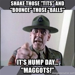 R. Lee Ermey - shake those ''tits'' and ''bounce'' those ''balls'' it's hump day... ''maggots!''