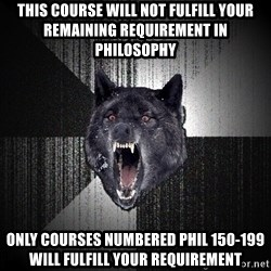 Insanity Wolf - this course will not fulfill your remaining requirement in philosophy Only courses numbered PHIL 150-199 will fulfill your requirement