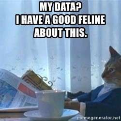 newspaper cat realization - My DATA?                                                    I have a good feline             about this.