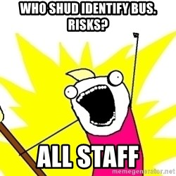 X ALL THE THINGS - Who shud identify bus. risks? all staff