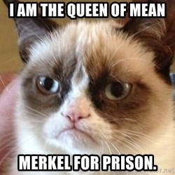 Angry Cat Meme - I am the queen of mean Merkel for prison.