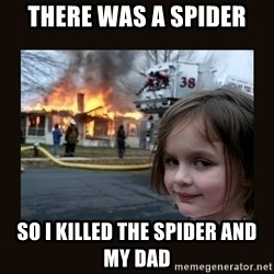 burning house girl - there was a spider so i killed the spider and my dad