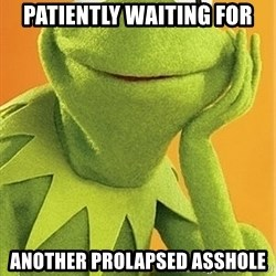 Kermit the frog - Patiently waiting for Another prolapsed asshole