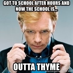 David Caruso CSI - Got to school after hours and now the school is... Outta thyme