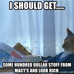 newspaper cat realization - i should get..... some hundred dollar stuff from macy's and look rich.